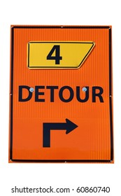 Detour Sign Isolated on White with a Number 4 on it