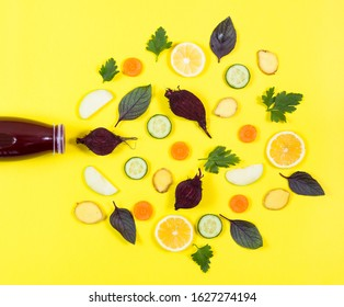 detox bottle and vegatables, fruits on the yellow background