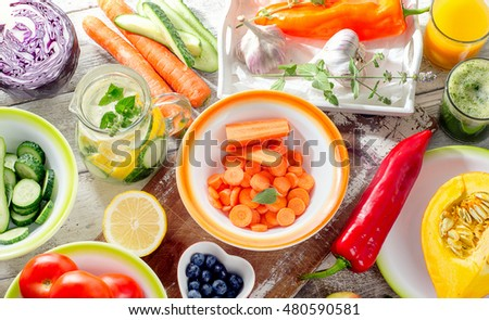 Detox Diet Healthy Eating Background Smoothies Stock Photo