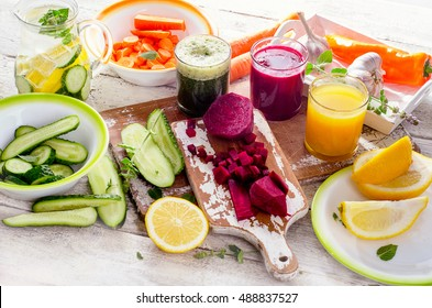 Detox diet. Healthy eating. Different colorful fruits and vegetables.