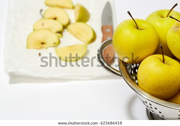Detox food & drink healthy diet vegetarian lifestyle concept: Fresh fruit. Apple, Sliced apples. Closeup Top view White background
