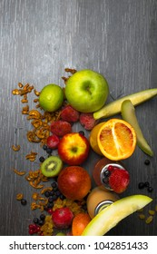 Detox. Fresh juice and smoothies with berries, cidonia, fruits, raisins, coconut oil