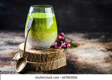 Detox ombre layered matcha green tea chia seed pudding. Vegan dessert with coconut milk. Healthy vegetarian breakfast, dieting, weight loss food