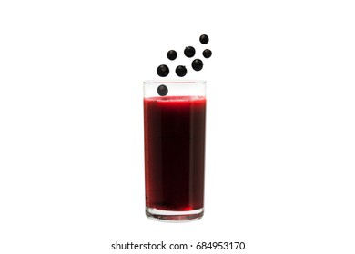 Detox Smoothie with black currant, cranberry, cowberry, blueberries on a white background. Diet drink. Cold beverage. Dessert.