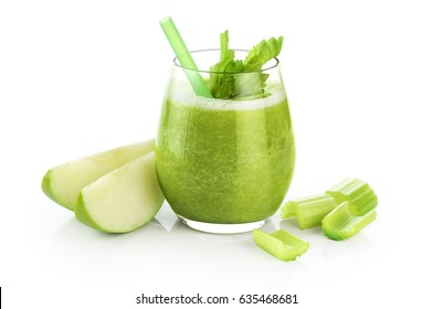 Detox smoothie with celery and apple on a white background. Healthy food.