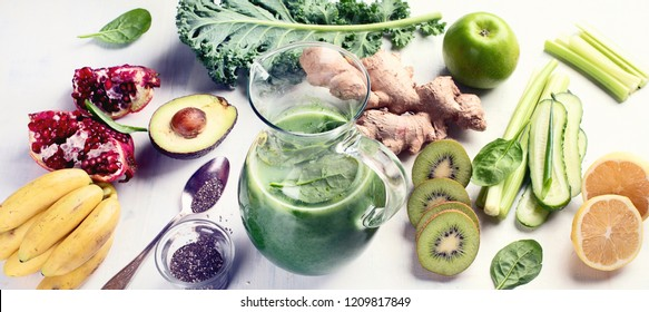 Detox Smoothies with kale apple, lemon, cucumber  and chia seeds. Clean and healthy eating concept. Panorama
