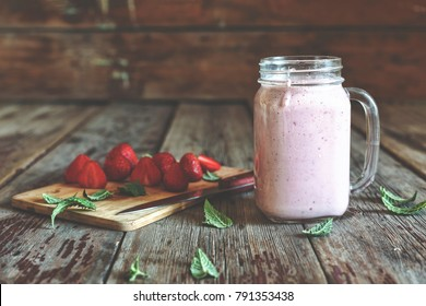 Detox. Summer detox. Strawberry smoothies with mint. Soft cinematic filter