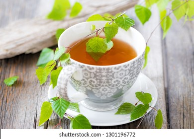 Detox tea of fresh birch leaves