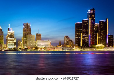Detroit from across the river. Shot at dusk.