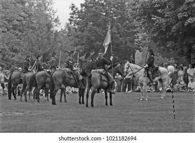 DETROIT – AUGUST 10, 1979: antique horse soldiers in a Dearborn park. Vintage picture taken in 1979.