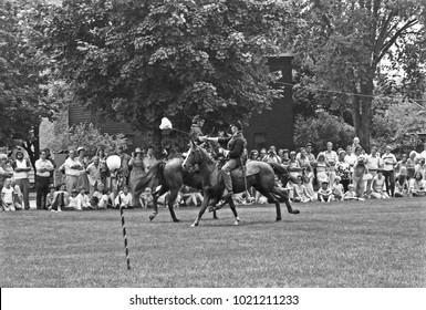 DETROIT – AUGUST 10, 1979: antique horse soldier in a Dearborn park. Vintage picture taken in 1979.