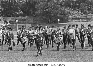 DETROIT – AUGUST 10, 1979: Michigan military band in a Dearborn public park. Vintage picture taken in 1979.