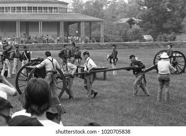 DETROIT – AUGUST 10, 1979: shooting with cannons in a Dearborn public park. Vintage picture taken in 1979.
