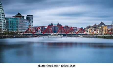 The Detroit Bridge is a Salford Quays landmark.  The 80-metre long footbridge spans Dock 9 linking Harbour City and Metrolink to The Lowry and The Designer Outlet.