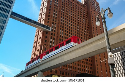 Detroit - Circa September 2008: Detroit People Mover train between the Guardian Building and One Woodward in downtown Detroit, Michigan, USA