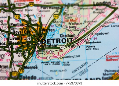 Detroit city on the map, USA