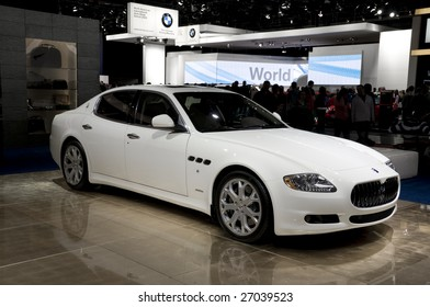 DETROIT – JAN 12 : Maserati Quattroporte at the North American International Auto Show on January 12, 2009 in Detroit, Michigan. The annual event is among the largest auto shows in North America.