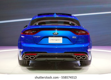 DETROIT - JANUARY 10: The 2018 Kia Stinger rear view at the North American International Auto Show media preview January 10, 2017 in Detroit, Michigan.