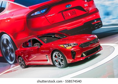 DETROIT - JANUARY 10: The 2018 Kia Stinger on display at the North American International Auto Show media preview January 10, 2017 in Detroit, Michigan.
