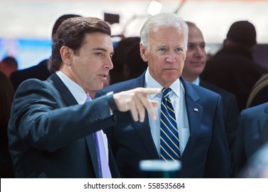 DETROIT - JANUARY 10: Ford CEO Mark Fields discusses autonomous cars with Vice President Joe Biden at the North American International Auto Show media preview January 10, 2016 in Detroit, Michigan.
