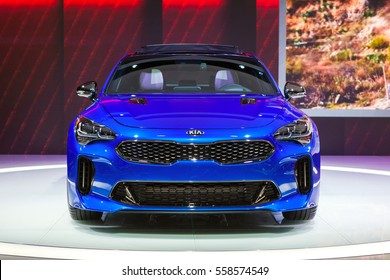 DETROIT - JANUARY 10: Front view of the new Kia Stinger at the North American International Auto Show media preview January 10, 2017 in Detroit, Michigan.