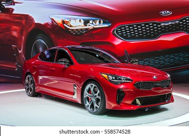 DETROIT - JANUARY 10: The Kia Stinger on display at the North American International Auto Show media preview January 10, 2017 in Detroit, Michigan.