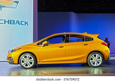 DETROIT - JANUARY 11: The 2017 Chevy Cruze Hatchback on display at the North American International Auto Show media preview January 11, 2016 in Detroit, Michigan.
