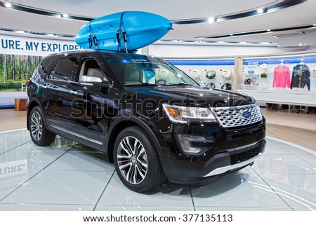 DETROIT - JANUARY 11: The 2017 Ford Explorer on display at the North American International Auto Show media preview January 11, 2016 in Detroit, Michigan.