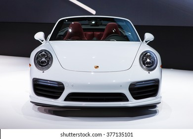 DETROIT - JANUARY 11: The new Porsche 911 Turbo on display at the North American International Auto Show media preview January 11, 2016 in Detroit, Michigan.