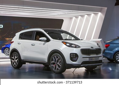DETROIT - JANUARY 12: The 2017 Kia Sportage on display at the North American International Auto Show media preview January 12, 2016 in Detroit, Michigan.