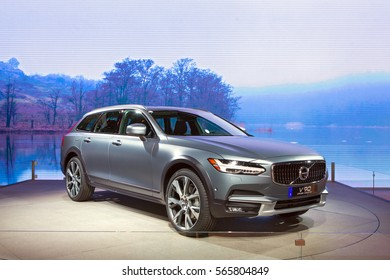 DETROIT - JANUARY 12: The 2017 Volvo V90 Cross Country on display at the North American International Auto Show media preview January 12, 2017 in Detroit, Michigan.