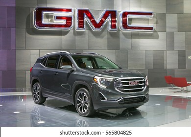 DETROIT - JANUARY 12: The 2018 GMC Terrain on display at the North American International Auto Show media preview January 12, 2017 in Detroit, Michigan.