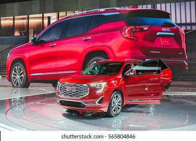 DETROIT - JANUARY 12: The 2018 GMC Terrain Denali on display at the North American International Auto Show media preview January 12, 2017 in Detroit, Michigan.