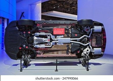 DETROIT - JANUARY 12: The bottom of a 2015 Ford Mustangon display January 12th, 2015 at the 2015 North American International Auto Show in Detroit, Michigan.
