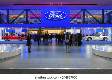 DETROIT - JANUARY 12: The main enterance to the Ford display January 12th, 2015 at the 2015 North American International Auto Show in Detroit, Michigan.