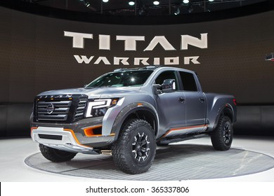 DETROIT - JANUARY 12: The Nissan Titan Warrior concept on display at the North American International Auto Show media preview January 12, 2016 in Detroit, Michigan.