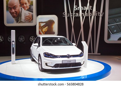 DETROIT - JANUARY 12: The Volkswagen e-Golf electric vehicle on display at the North American International Auto Show media preview January 12, 2017 in Detroit, Michigan.