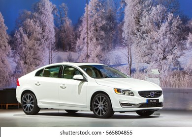 DETROIT - JANUARY 12: The Volvo S60 sedan on display at the North American International Auto Show media preview January 12, 2017 in Detroit, Michigan.