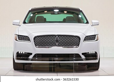 DETROIT - JANUARY 13: The 2017 Lincoln Continental on display at the North American International Auto Show media preview January 13, 2016 in Detroit, Michigan.