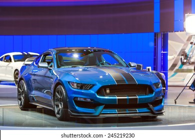 DETROIT - JANUARY 13: A Ford GT350 Shelby Cobra Mustang on display January 13th, 2015 at the 2015 North American International Auto Show in Detroit, Michigan.