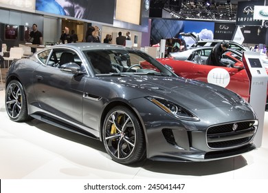 DETROIT - JANUARY 13 :The 2015 jaguar f-type coupe at The North American International Auto Show January 13, 2015 in Detroit, Michigan.