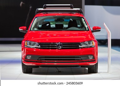 DETROIT - JANUARY 13: A Volkswagen Jetta on display January 13th, 2015 at the 2015 North American International Auto Show in Detroit, Michigan.