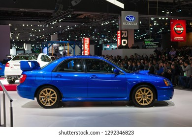 DETROIT - JANUARY 14: A 1995 Subaru WRX on display during the media preview at the North American International Auto Show media preview January 14, 2019 in Detroit, Michigan.