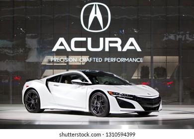 DETROIT - JANUARY 14: The 2019 Acura NSX supercar on display at the North American International Auto Show media preview January 14, 2019 in Detroit, Michigan.
