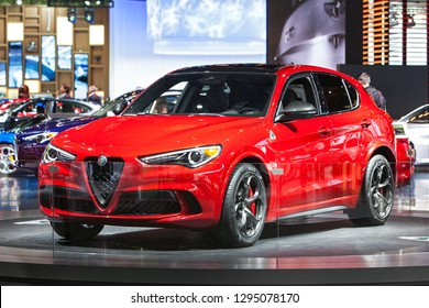 DETROIT - JANUARY 14: The 2019 Alfa Romeo Stelvia on display at the North American International Auto Show media preview January 14, 2019 in Detroit, Michigan.