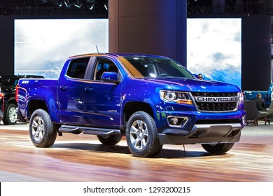 DETROIT - JANUARY 14: The 2019 Chevrolet Colorado pickup truck on display at the North American International Auto Show media preview January 14, 2019 in Detroit, Michigan.