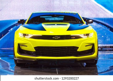 DETROIT - JANUARY 14: The 2019 Chevy Camaro SS on display at the North American International Auto Show media preview January 14, 2019 in Detroit, Michigan.