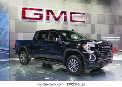 DETROIT - JANUARY 14: The 2019 GMC Sierra pickup truck on display at the North American International Auto Show media preview January 14, 2019 in Detroit, Michigan.