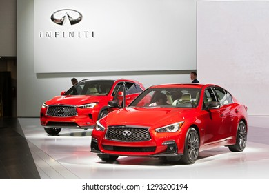 DETROIT - JANUARY 14: The 2019 Inifiniti Q50 on display at the North American International Auto Show media preview January 14, 2019 in Detroit, Michigan.