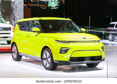 DETROIT - JANUARY 14: The 2019 Kia Soul on display at the North American International Auto Show media preview January 14, 2019 in Detroit, Michigan.